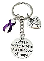 パープルリボンキーチェーン、膵臓がん啓発キーチェーン、アルツハイマー病