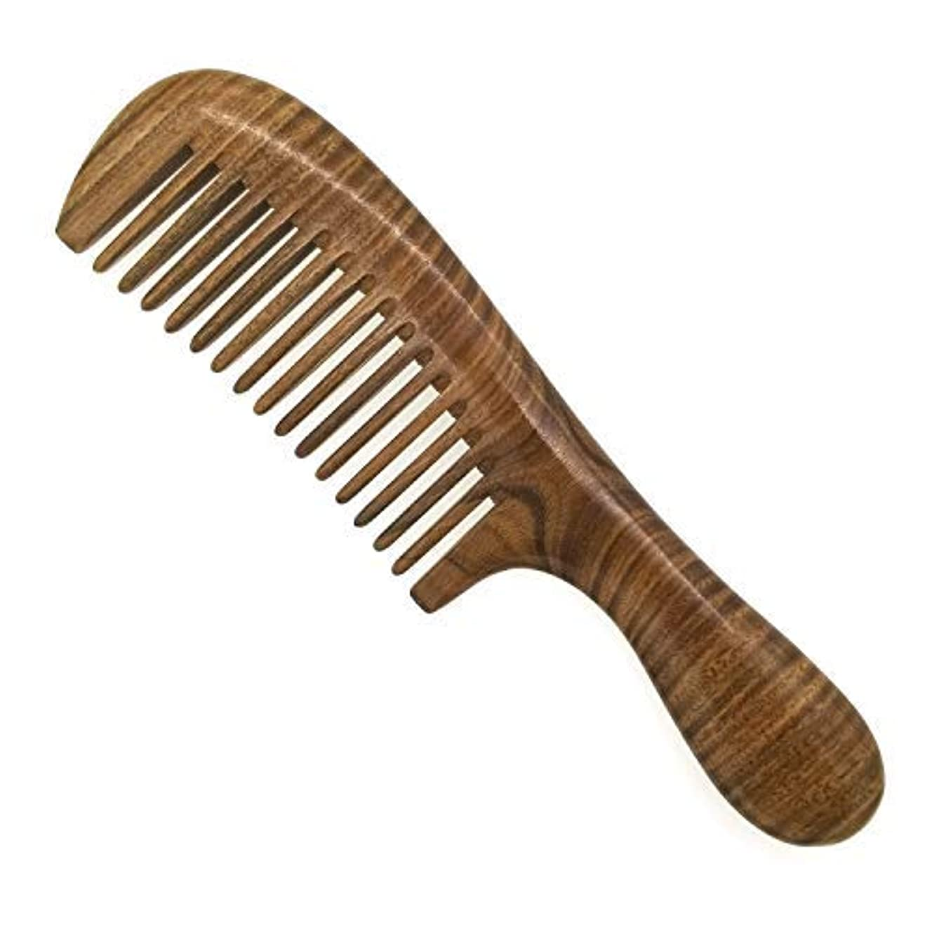 靴下委員会せせらぎERZA SCARLET Real Natural Green Sandalwood Wooden Comb/Boutique Hair Comb - NO SNAGS,NO STATIC,NO TANGLE (Wide...