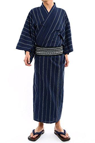 インプローブス 4点 セット 浴衣 ゆかた 下駄 帯 腰紐 和服 和装 綿100% メンズ ネイビー L サイズ