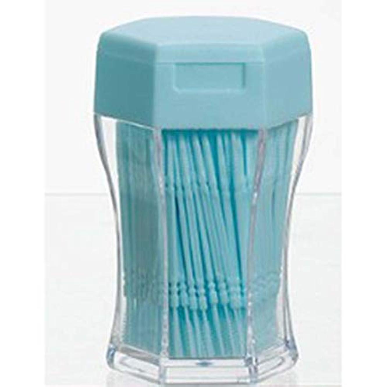 短くするスポーツマン素晴らしい良い多くの200ピース/セットダブルヘッド歯フロス衛生デンタルフロスプラスチック歯間つまようじ健康用歯のクリーニングオーラルケア(Color:blue)