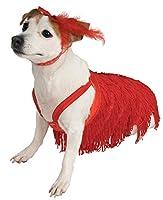 フラッパー ドレス 犬用コスチューム 赤 フリンジ パーティー■サイズ:M