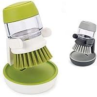 NR キッチンブラシ!洗濯ブラシ!洗剤を入れて使える便利なキッチンブラシ(PS:受台付き)(緑)
