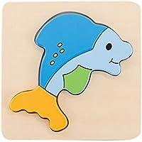 パズルゲーム子供のための3 PCS子供の木製パズル[鯨]