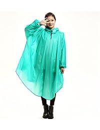 Youchan(ヨウチャン) レインコート ポンチョ カラフルフード ゆったり 自転車 バイク 携帯 コンパクト 雨具 雨カッパ レインウェア 防水 通勤 通学 オールシーズン レディース (グリーン)