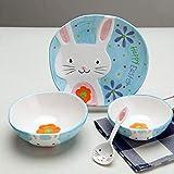 かわいい動物 手描きセラミック食器 浮き彫り仕様 カトラリーセット 子供食器4点セット (ウサギの)