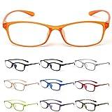 MIDI-ミディ 10カラーで遊べる老眼鏡 【Colors】 おしゃれ レディース メンズ ブルーライトカット オレンジ (M-209,C8,+1.00)