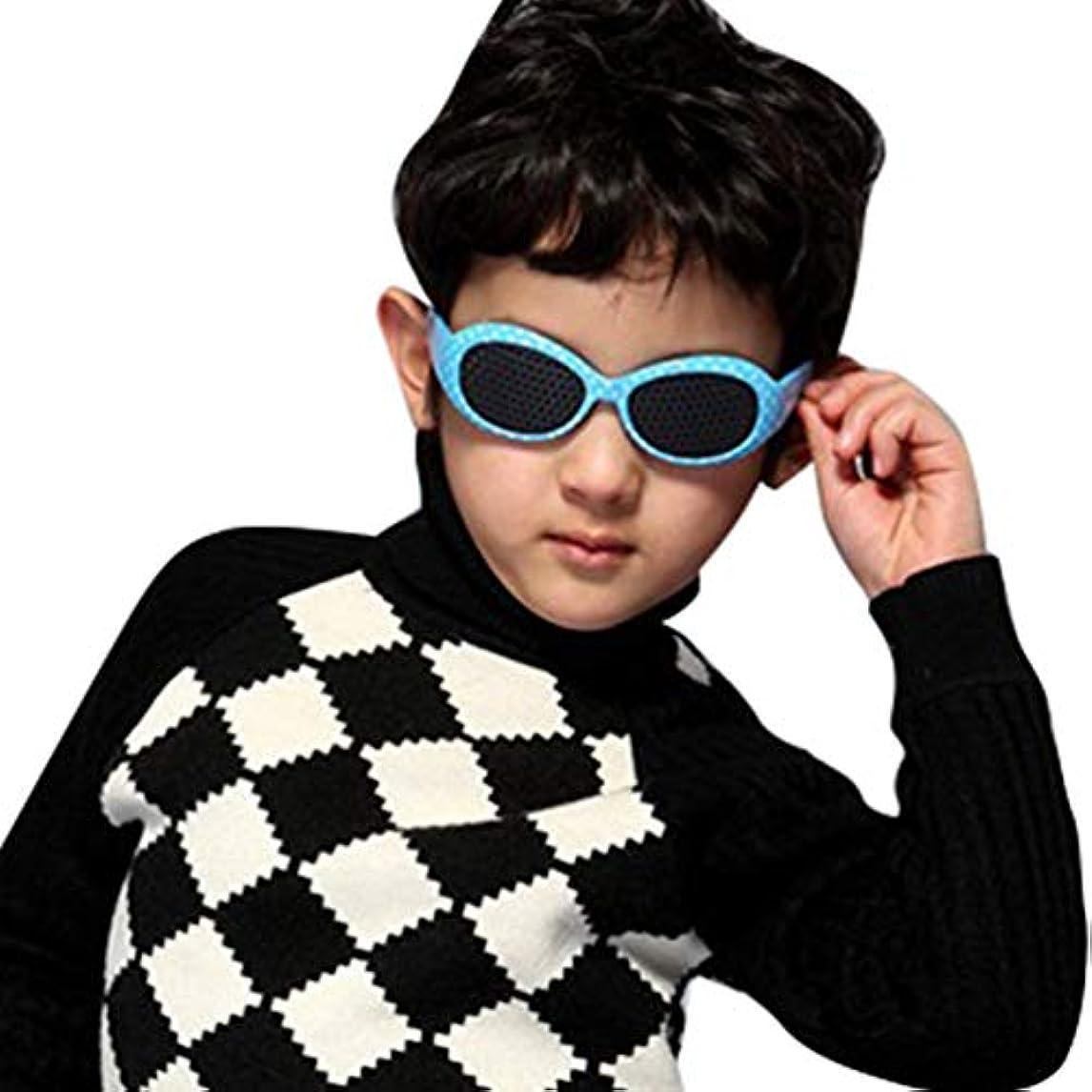 (ライチ) Lychee ピンホールメガネ 眼鏡ケース 視力改善 視力トレーニング 視力回復 眼筋運動 疲労予防 視力矯正 遠近兼用 疲れ目 眼筋力 アップ フリーサイズ 子供用 ブルー