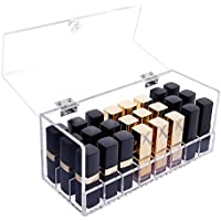 Asien Lipstick Holder Acrylic Makeup Organiser Storage Transparent Cosmetic Box Large 24 Slot with Lid