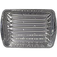 Large Oven Disposable Reuseable Aluminium Broiler Grill Foil Pan Pans for Healthy Cooking with Ridges - Set of 36, 33cm x 23cm x 2.5cm