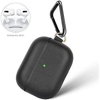 Ztotop AirPods Pro ケース 2019 軽量 耐衝撃 PUレザー (LEDライトが見える)防塵 キズ防止 携帯便利 AirPods第3世代に適用カバー ブラック