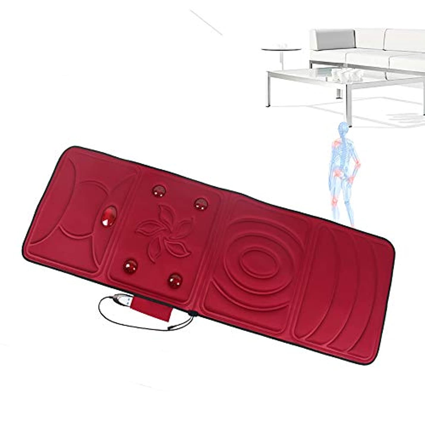 キモい知覚する挨拶全身加熱マッサージマットレスマットレス暖房パッドフラットバック熱療法マッサージフロアチェアまたはベッドシンプルRemoteElectricマッサージマットレスホームシンプル折りたたみ式デザイン,赤