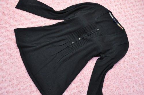 シルク&カシミヤ混 ホースマーク刺繍 Aライン 長袖 チュニック レディース 黒 バーバリー・ロンドン