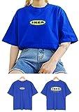 Bullang イケア IKEA オーバー サイズ 半袖 Tシャツ レディーズ ガールズ Tee Korean K-pop (ブルー)