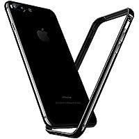 【Humixx】 iPhone8Plus ケース iPhone7Plus ケース [ アルミ シリコン ] [ リングストラップ 付き ] [ レンズ保護 衝撃 吸収 ] [ 一体感 ボタン保護 ]( iPhone8 Plusバンパー, iPhone7 Plus バンパー, ジェットブラック )
