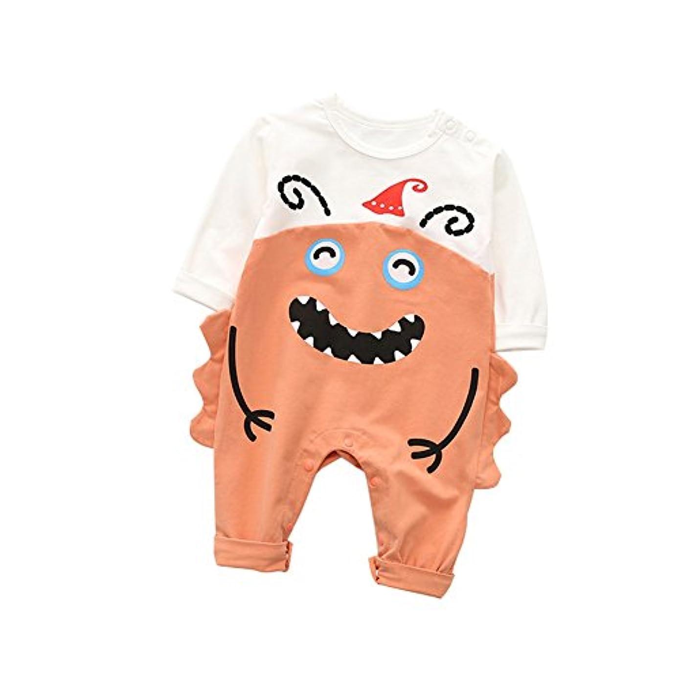 素敵な破滅グラフィックMornyray ベビー服 ロンパース カバーオール 長袖 女の子 赤ちゃん 肌着 インナー パジャマ コットン ハロウィン 怪獣 size 80 (レッド)
