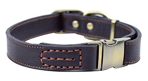 Rantow 調整可能な快適な革の首輪 首の大きさ33-51cm 幅2.5cm 強い犬の首輪中型犬用 犬用ベーシック首輪 (褐色)