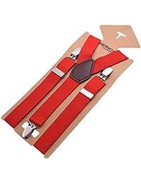YiyiLai カジュアル Y型 サスペンダー メンズ 調節可能 ビジネス レディース 吊りバンド 幅2.5cm