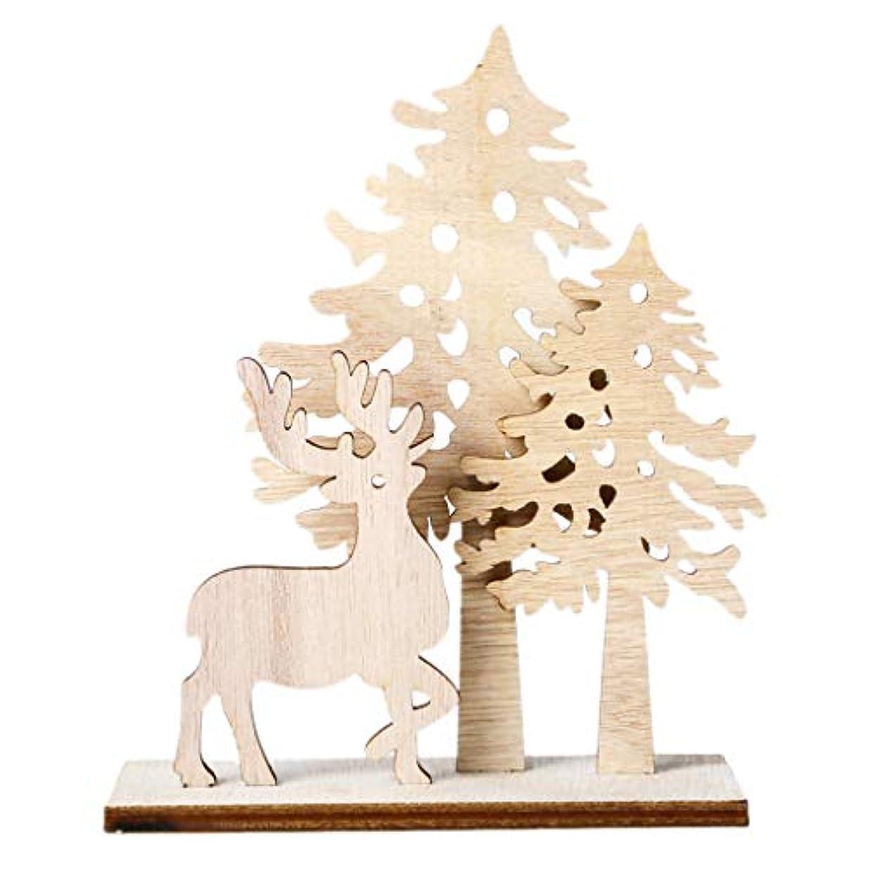 ラフ睡眠反応する八百屋さんチェリー丁目 クリエイティブDIYウッドクラフトクリスマスツリー鹿木製の装飾クリスマスパーティー用品ホーム装飾品