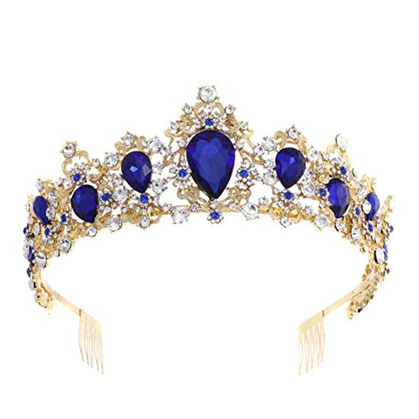征服する専門化する急襲Lurrose クラウンquinceaneraラインストーンウェディングプリンセスブライダルダイヤモンドクリスタル用女性パーティーヘッドバンドギフト(ブルー)