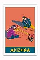 アリゾナ州 - ホピインディアンズの砂の絵 - サンタフェ鉄道 - ビンテージな鉄道旅行のポスター c.1940s - プレミアム290gsmジークレーアートプリント - 61cm x 91cm