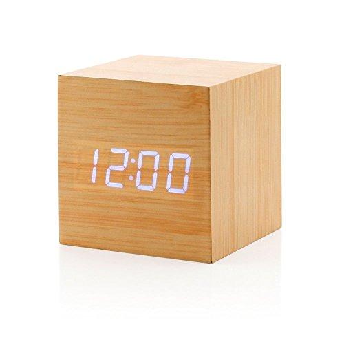 格木極尚 デジタル木製目覚まし時計 ミニ音声制御アラームクロック (キューブ...