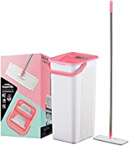 Sweet Home Supamop Slide Clean Double Scraper Flat Mop Set, Pink