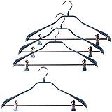 【まとめ買いセット】すべり落ちない MAWAハンガー スーツ コート用 ボディーフォーム クリップバー付き  4本組 ラメブルー MA4441LBL-4