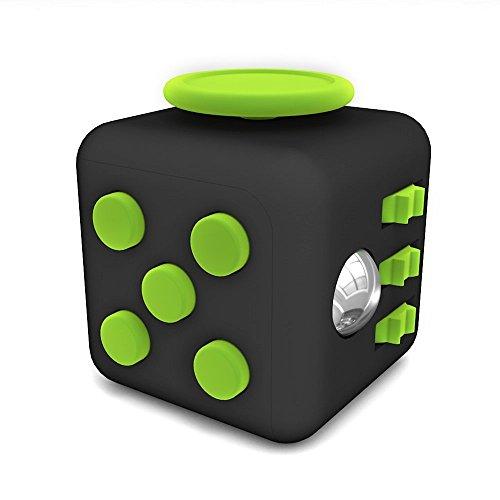 EWEN Fidget Cube ストレス解消キューブ 持ち無沙汰を解消 不安 緊張 リリーフ ルービックキューブ おもちゃ 手持ちポケットゲーム 集中力を高める道具 (ブラック+グリーン)