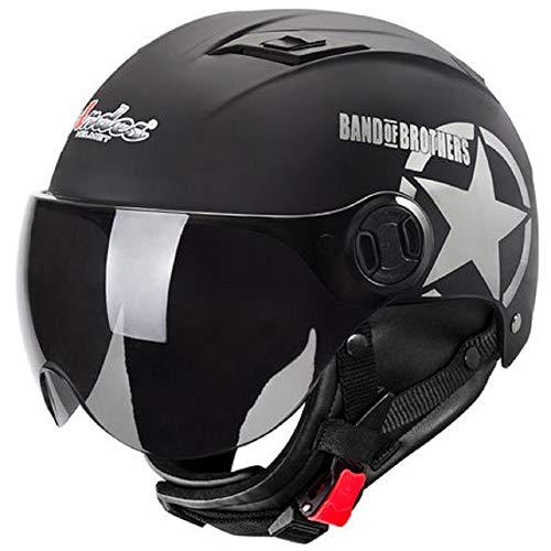 GOHAN(ゴハン) バイクヘルメット ハーフヘルメット インナーシールド付き 多色選択可能 フリーサイズ 人気バイクヘルメット メンズ レディース (四季タイプ ブラック)