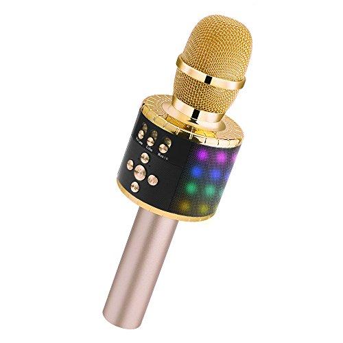 Verkstar Bluetooth カラオケマイク ブルートゥース ワイヤレスマイク LEDライト付き&イヤフォンジャック付き 大容量2600mAh TFカード機能 Android/iPhone/PCに対応(ゴールド)
