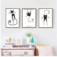 ファッションいたずら猫キャンバス絵画抽象黒と白のポスター印刷北欧壁アート写真用リビングルーム家の装飾50×70センチX3(枠なし)