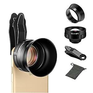 3X望遠レンズ BlitzWolf レンズフード付き クリップ式 プロフェッショナルHD携帯電話カメラレンズ カメラレンズキットiPhone、Samsung Galaxy、LG、HTC、Moto、Nexus、Sony Xperia、Windows、Lumia、iPad、タブレットPCに対応