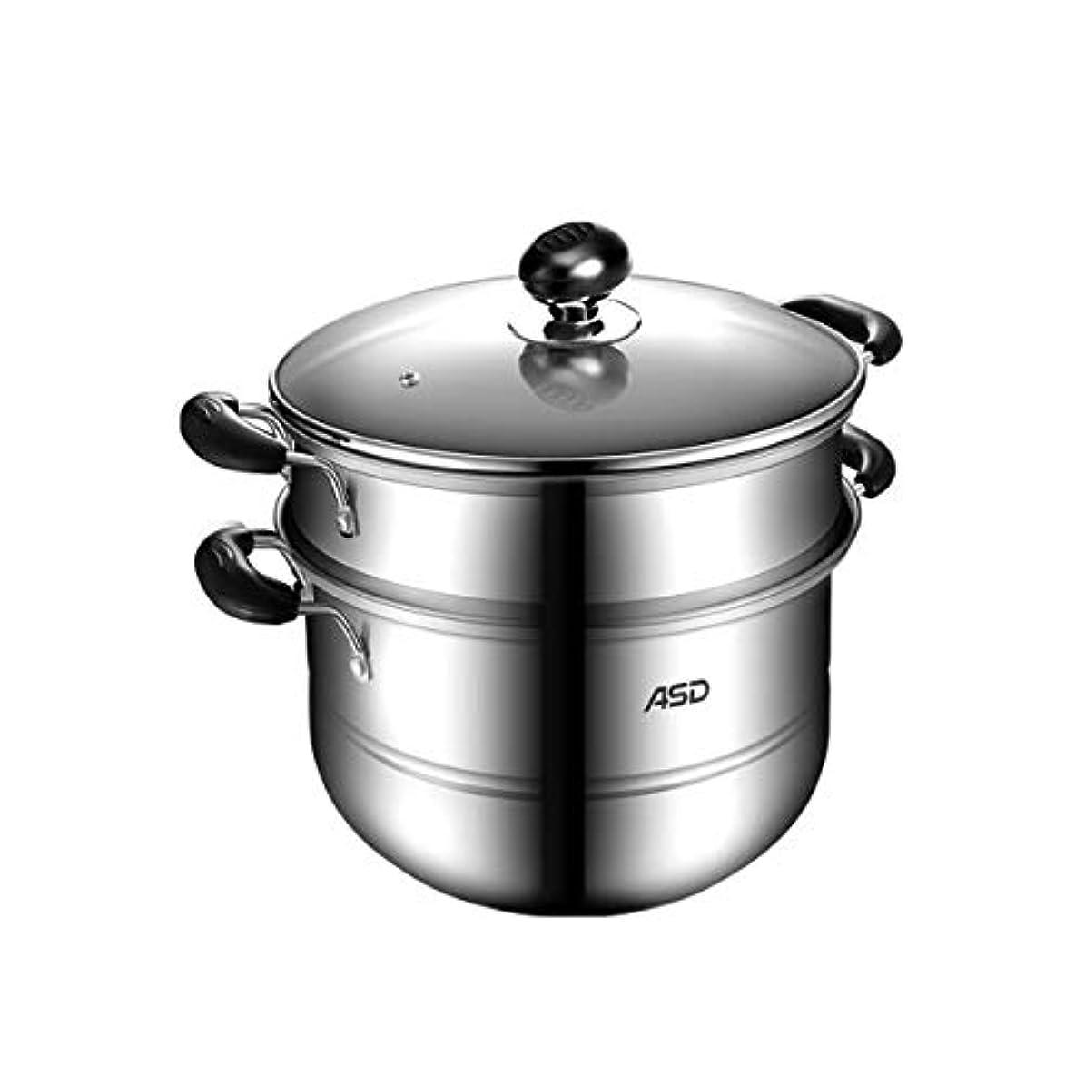 主一部好きLIFANG ステンレス2層蒸し器蒸し器ガス炊飯器一般スープポット多目的調理デュアルユースポット(28cm)シルバー (Color : Silver, Size : 28cm)