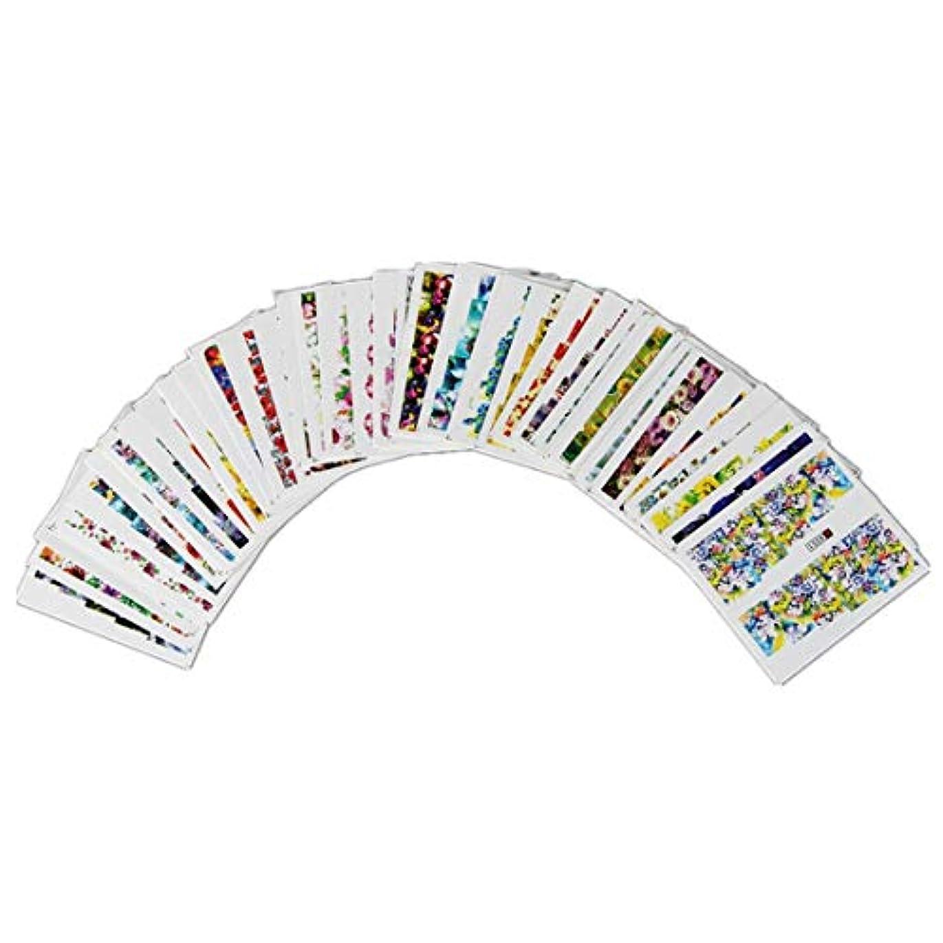 価値のないハッチ芸術Kerwinner 50枚ネイルステッカー盛り合わせパターン水転写花フラワーステッカーセット女性用爪の装飾ネイルデカールネイルアートアクセサリーマニキュアチャームヒント
