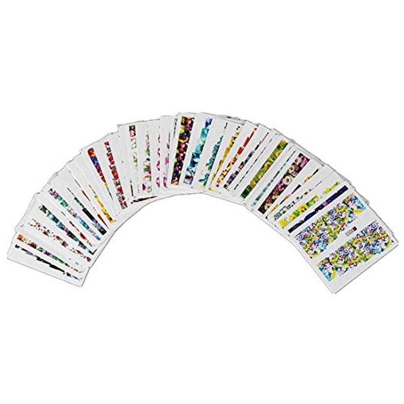 セールなるまばたきOWNFSKNL 50枚ネイルステッカー盛り合わせパターン水転写花フラワーステッカーセット女性用爪の装飾ネイルデカールネイルアートアクセサリーマニキュアチャームヒント
