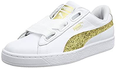 [プーマ] スニーカー BASKET HEART GLITTER W メンズ WHITE-GOLD 23.5 cm