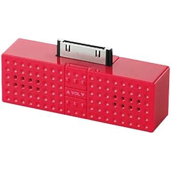 ELECOM iPod用ステレオミニスピーカー Sound Block レッド ASP-P300RD