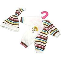 Lovoski  ドール用 かわいい ハーフ ストライプジャンプスーツ 帽子 パジャマ 14-16インチ人形適用 装飾 全2色  - コーヒー