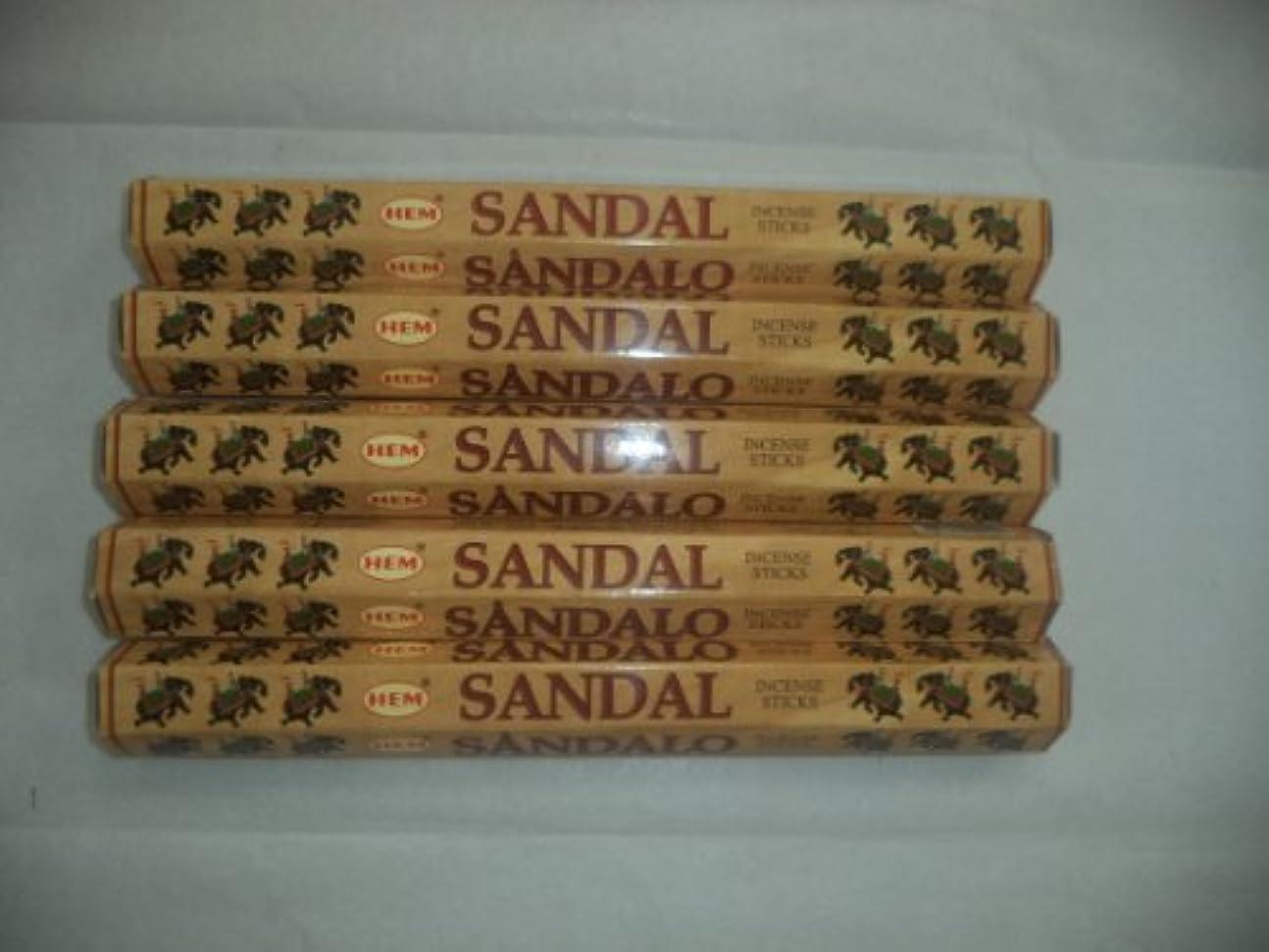よく話されるスナック神聖HEM Sandal (Sandalwood) 100 Incense Sticks (5 X 20 Stick Packs) by Hem