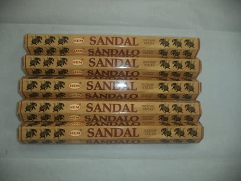 情熱ドル埋めるHEM Sandal (Sandalwood) 100 Incense Sticks (5 X 20 Stick Packs) by Hem