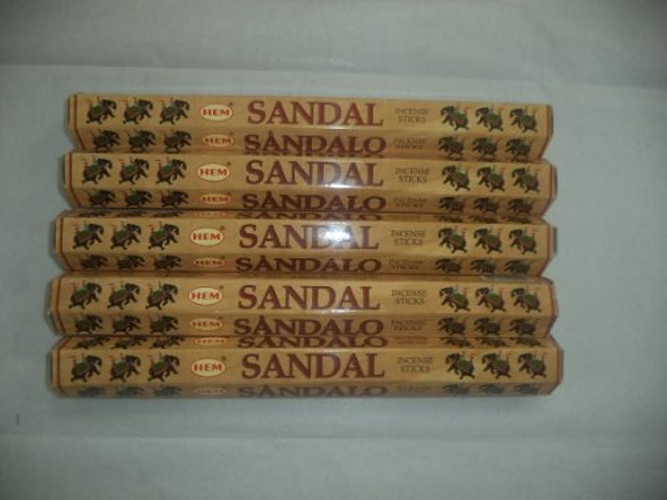 甥体細胞単語HEM Sandal (Sandalwood) 100 Incense Sticks (5 X 20 Stick Packs) by Hem