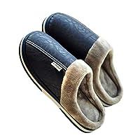 メンズコットンウィンタースリッパ、柔らかくて糸くずのない、安全で滑りにくい、室内の暖かいノンスリップスリッパ