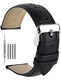 本革時計バンド20mm レザー腕時計ベルト ウォッチストラップ 鰐皮紋様 尾錠金具付き 18mm 19mm 21mm 22mm