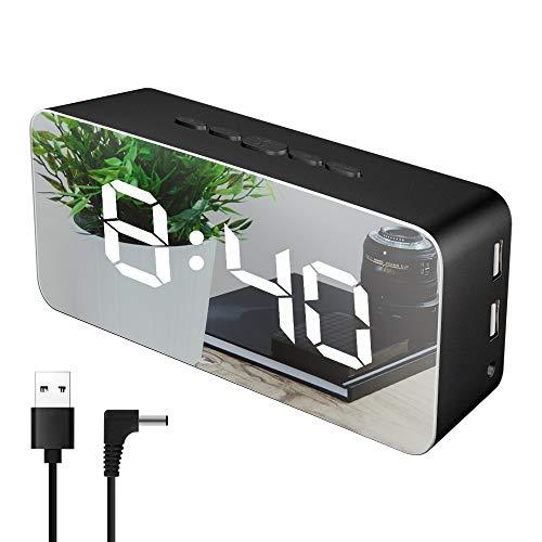 目覚まし時計 大音量 置き時計 Ninonly 卓上時計 デジタル時計 クロック 鏡面 音声感知 温度表示 115種類のLED色 明るさ調節 設定記憶 省エネ USB給電/乾電池