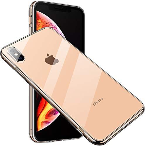 ARROW iPhone XS ケース 背面9H硬度強化ガラスTPUハイブリッド 薄型 ストラップホール付き (iPhone XS, クリアー)