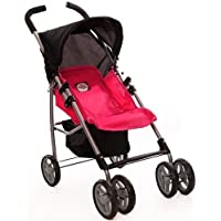 Pink Swivel Wheels Single Doll Stroller with Free Carriage Bag [並行輸入品]