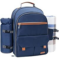 Sunflora Picnic Backpack for 4 Person Set Pack with Stainless Steel Flatwares and Insulated Waterproof Pouch for Family Outdoor Camping (Navy Blue)