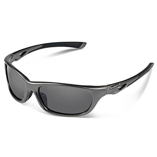 Duduma 偏光レンズ メンズスポーツサングラス 超軽量 UV400 紫外線をカット スポーツサングラス/ 自転車/釣り/野球/テニス/ゴルフ/スキー/ランニング/ドライブ TR90 (646シルバーグレー/ブラック)