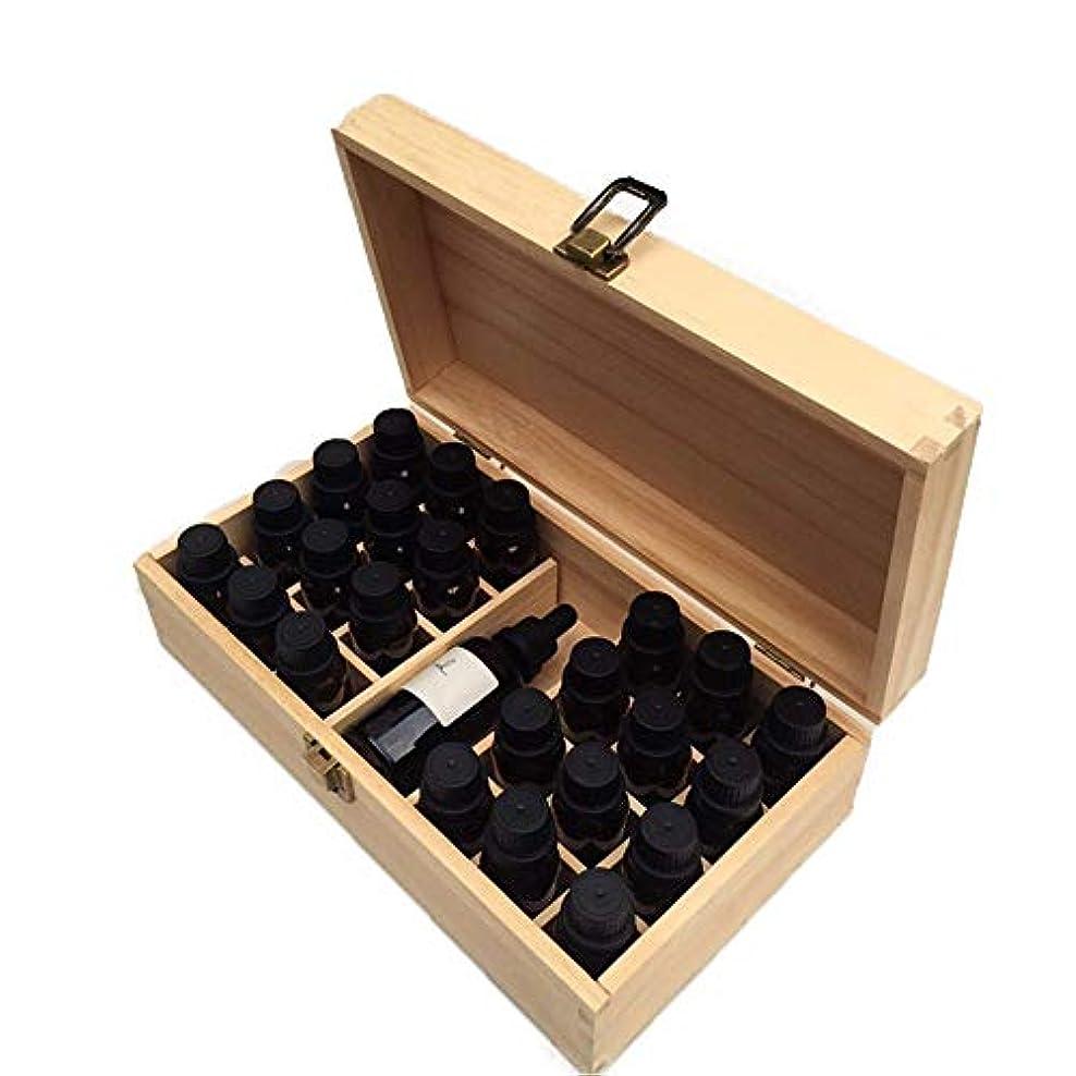 ボット超越する引き出すエッセンシャルオイルの保管 ストレージボックスでは、安全に油を維持するためのベストハンドル25のボトル木製のエッセンシャルオイル (色 : Natural, サイズ : 27X15X9CM)