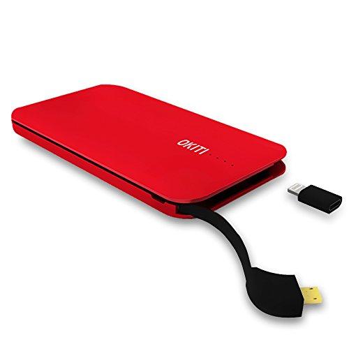 OKITIモバイルバッテリー10000mAh 2台同時充電 3.0A 超薄型モバイルバッテリー ケーブル(lightningとType-Cアダプタ付き)急速 スマホ 充電器 防災グッズ レッド?